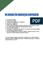 10 Reguli in Educarea Copiilor