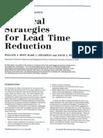 Practical Strategies on Lead Time Redn