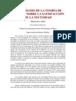 DOS ANÁLISIS DE LA TEORÍA DE MASLOW SOBRE LA SATISFACCIÓN DE LA NECESIDAD