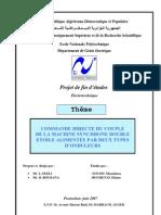 COMMANDE DIRECTE DU COUPLE DE LA MACHINE SYNCHRONE DOUBLE ETOILE ALIMENTEE PAR DEUX TYPES D'ONDULEURS