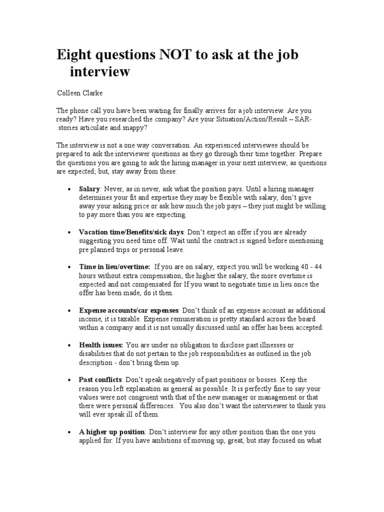 Eight Questions NOT To Ask At The Job Interview | Job Interview | Employment