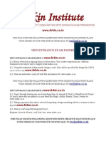 ARKIN - NIFT Creative Part Question Papers for Last Ten Years creative ability test questions