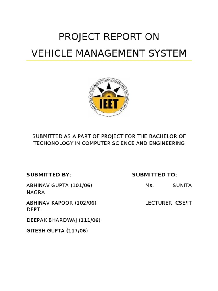 Project report on vehicle management system class computer project report on vehicle management system class computer programming inheritance object oriented programming ccuart Images