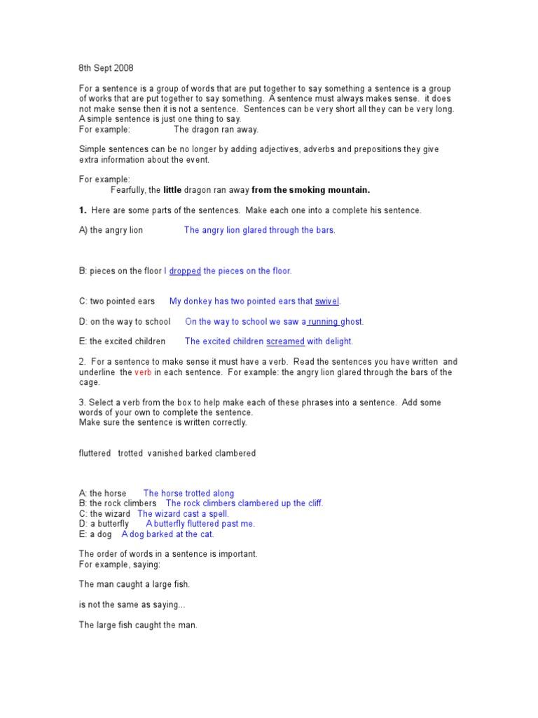 Simple sentences   Verb   Adverb