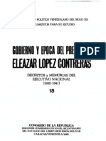 Tomo 18. Gobierno y época del presidente Eleazar López Contreras. Decretos y memorias del Ejecutivo Nacional (1935-1941)