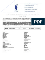 Fair Housing Advertising Word and Phrase List
