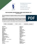 Fair Housing Advertising Word and Phrase List