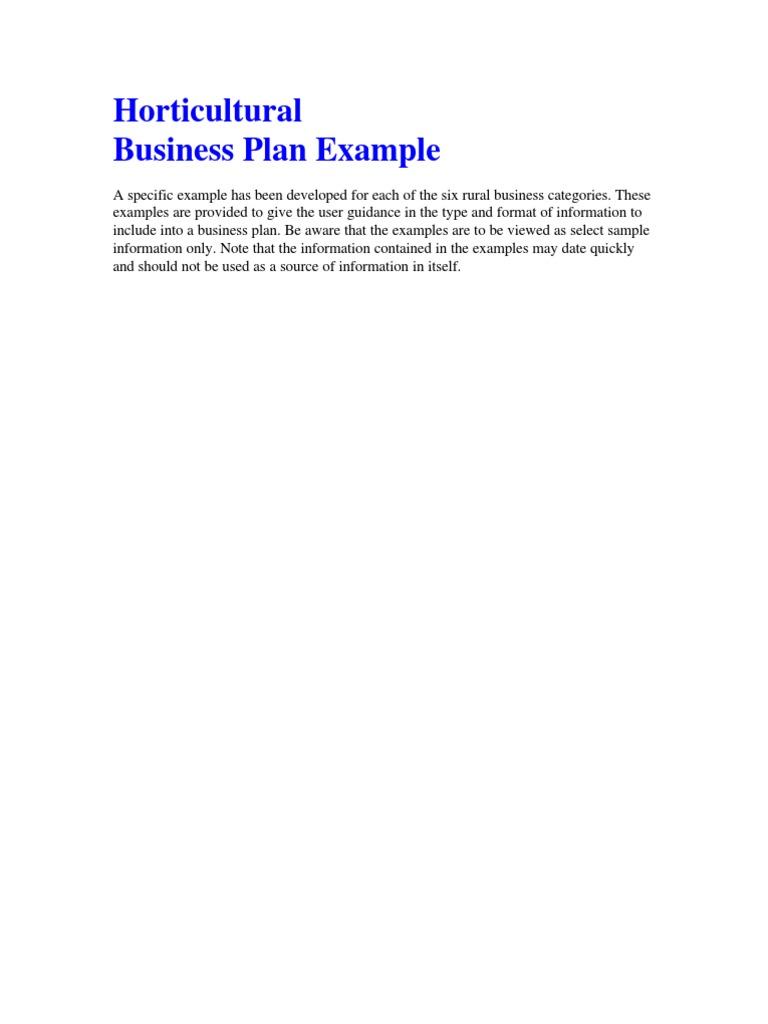 Sample Business Plan Horticulture Business Loans Strategic