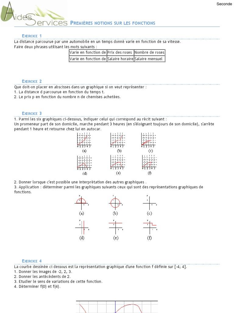 Seconde 5 Exercices Corriges De Base Sur Les Fonctions Fonction Mathematiques Salaires