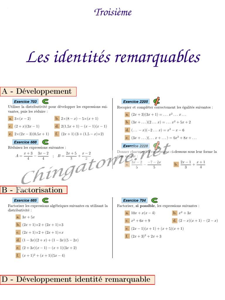 Chingatome Troisieme Les Identites Remarquables Algebre Mathematiques Elementaires