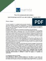 Communiqué du président SAFFACHE adressé à la communauté universitaire, publié le 23 mai 2011