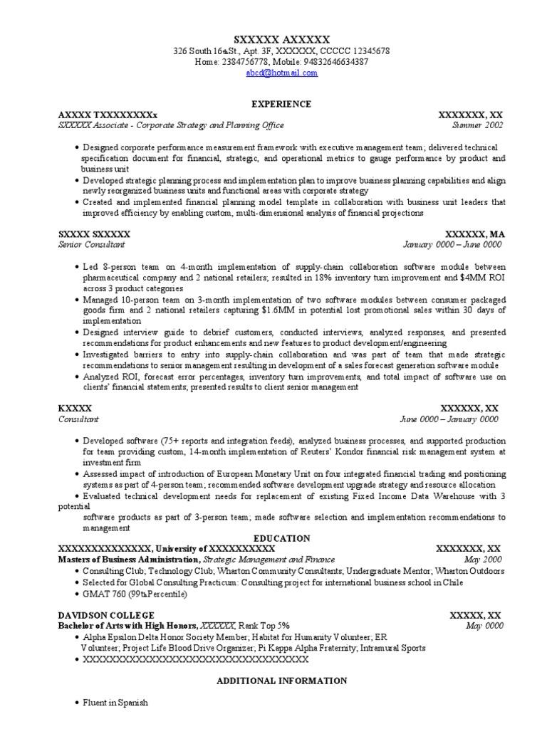 resume sample  job focus  strategic management