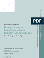 Comparative Study on Litigation and Funding Costs