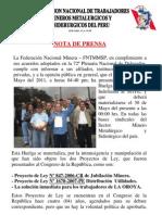 Nota de Prensa - Entrega de Plazo de Huelga 30 de Mayo 2011