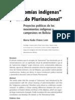Autonomía indígena, Estado plurinacioanal -Bolivia