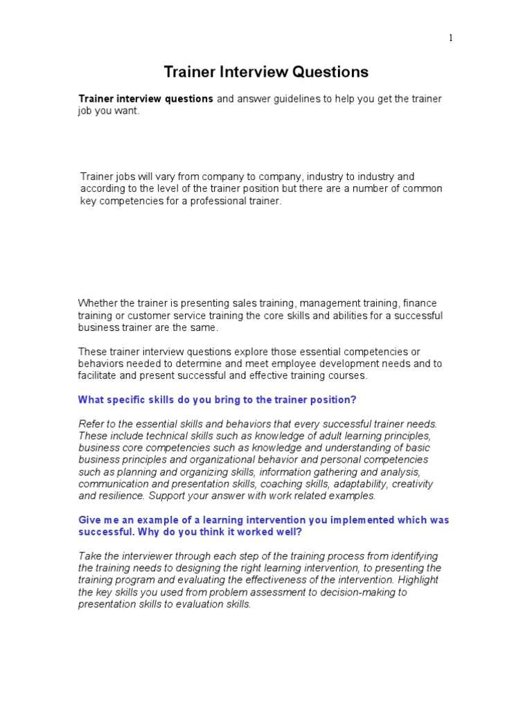 05 11 Trainer Interview Questions | Facilitator | Competence (Human  Resources)  Customer Service Interview Questions