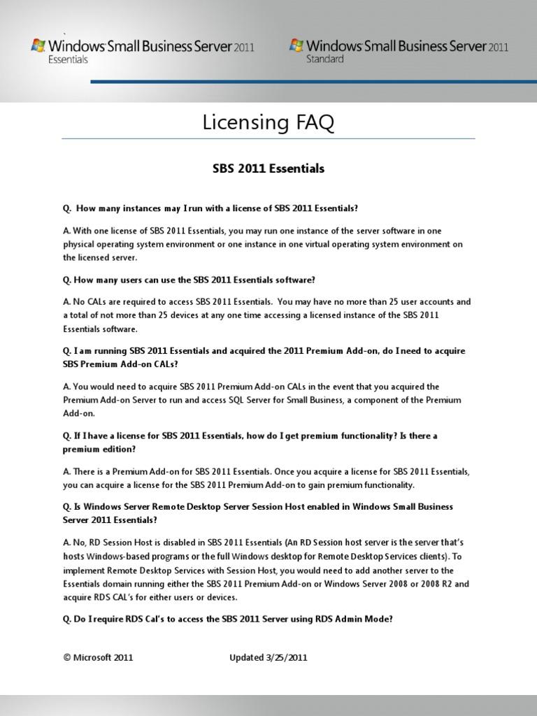 SBS 2011 Licensing FAQ | Microsoft Exchange Server | Remote Desktop