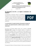 INFORME PRESUPUESTO DE EDUCACIÓN SUPERIOR AÑO 2010