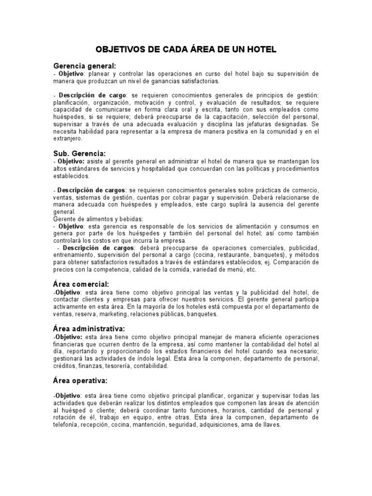 Objetivos de cada area de un hotel for Manual de operaciones de un restaurante ejemplo