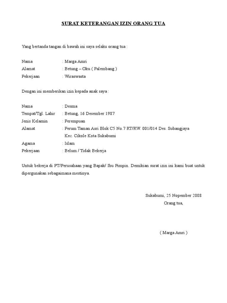 Contoh Surat Pernyataan Orang Tua Wali Murid Lebaran Ee