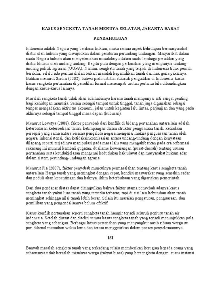 Kasus Sengketa Tanah Meruya Selatan