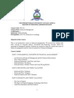 Financial Management Outline