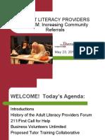 Adult Literacy Providers Forum