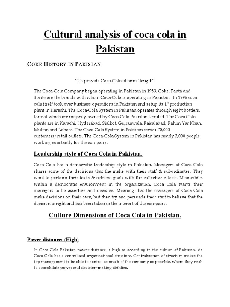 coca cola corporate culture analysis