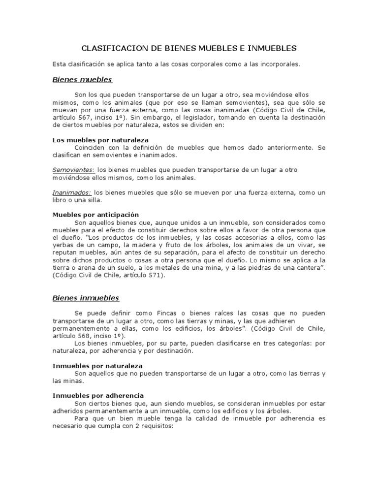 Clasificacion de bienes muebles e inmuebles for Bienes de muebles e inmuebles