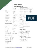 Algebra Cheat Sheet 2