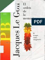 Jacques Le Goff - El Orden de La Memoria