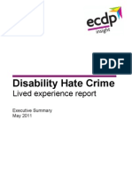 ecdp Disability Hate Crime Report, May 2011 -- Executive Summary