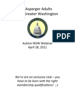 Asperger Adults of Greater Washington Webinar with Autism NOW April 28, 2011
