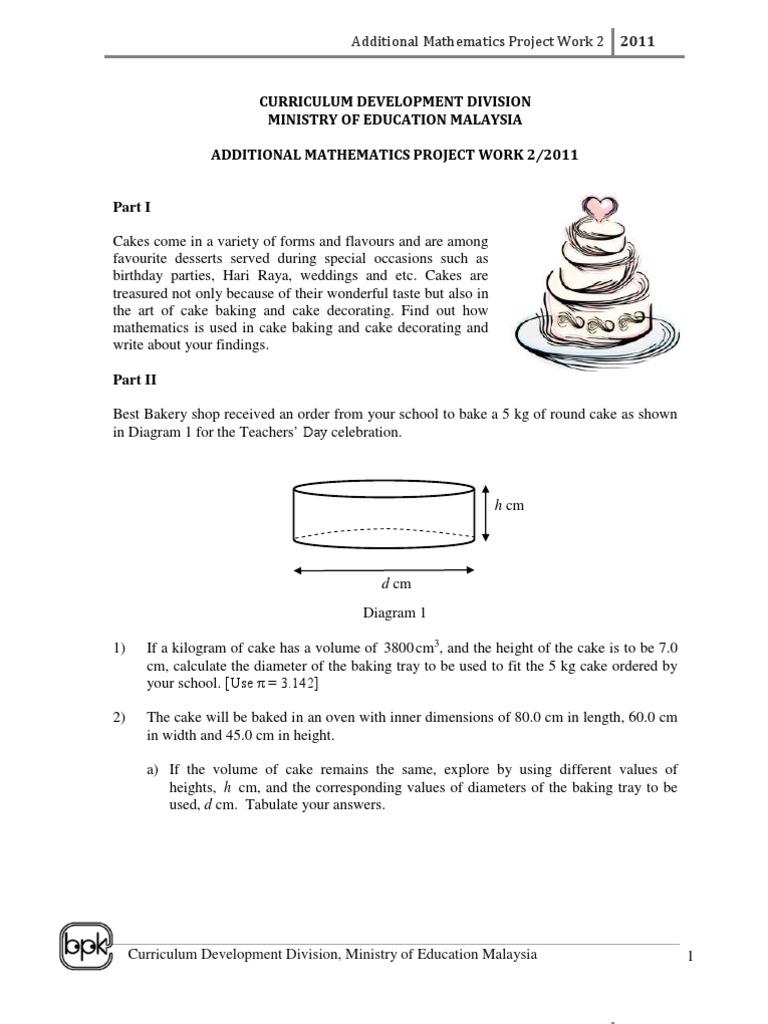 Additional Mathematics Project Work 2 | Cakes | Bakery