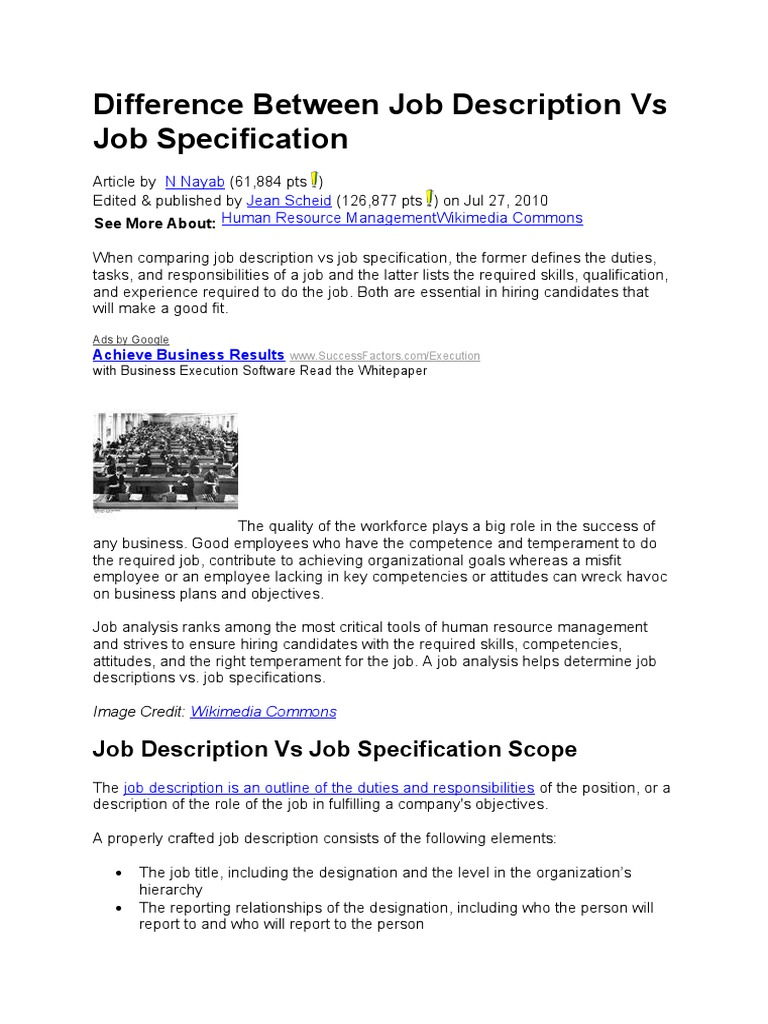 difference between job description vs job specification
