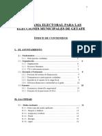 Programa Electoral Municipal de Getafe Aprobado Por La Asamblea Local