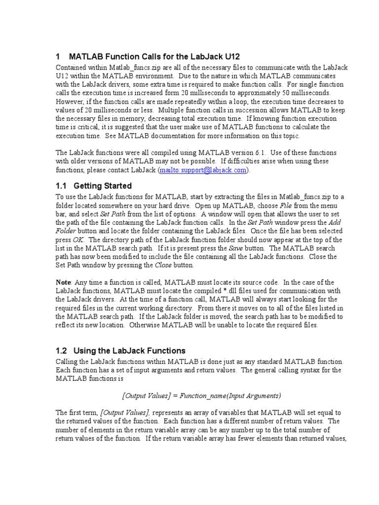 MATLAB Function Calls for the LabJack U12 | Parameter