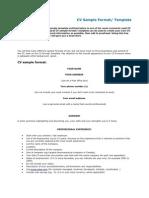 CV Sample Format