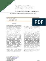 Porras, R. Percepciones Ambient Ales de Los Universitarios