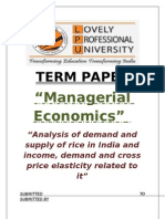 "Economics Term Paper on ""Analysis of demand and supply of rice in India and income, demand and cross price elasticity related to it"""