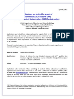 Applications Are Invited for a Post of Junior Research Fellow (JRF) in Department of Biotechnology (DBT) Funded Project