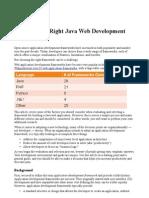 Choosing the Right Java Web Development Framework