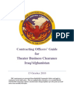 Contracting Officers' Guide for Theater Business Clearance, Iraq - Afghanistan, 15 OCT 10