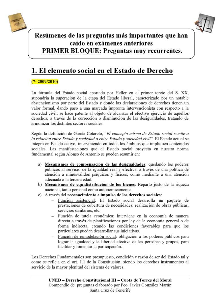 Uned Resumen Preguntas Examenes Constitucional Iii Torres Del Moral Derecho Constitucional Constitucion