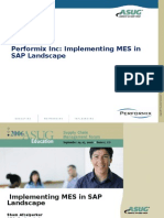 Integrating SAP and MES - Performix Inc Implementing MES in SAP