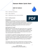 Chanson Water Ionizer Quick Start Guide