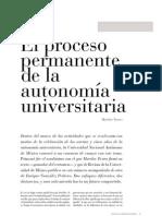 El proceso permanente de la autonomía universitaria