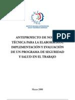 Anteproyecto de Norma Tecnica Para La Elaboracion Implementacion y Evaluacion de Un Programa de Seguridad y Salud en El Trabajo