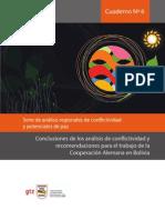 Cuaderno Nº 6 Conclusiones de los análisis de conflictividad y recomendaciones para el trabajo de la Cooperación Alemana en Bolivia