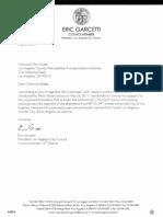 LA City Council President Eric Garcetti Letter on Mark Ridley-Thomas Motion
